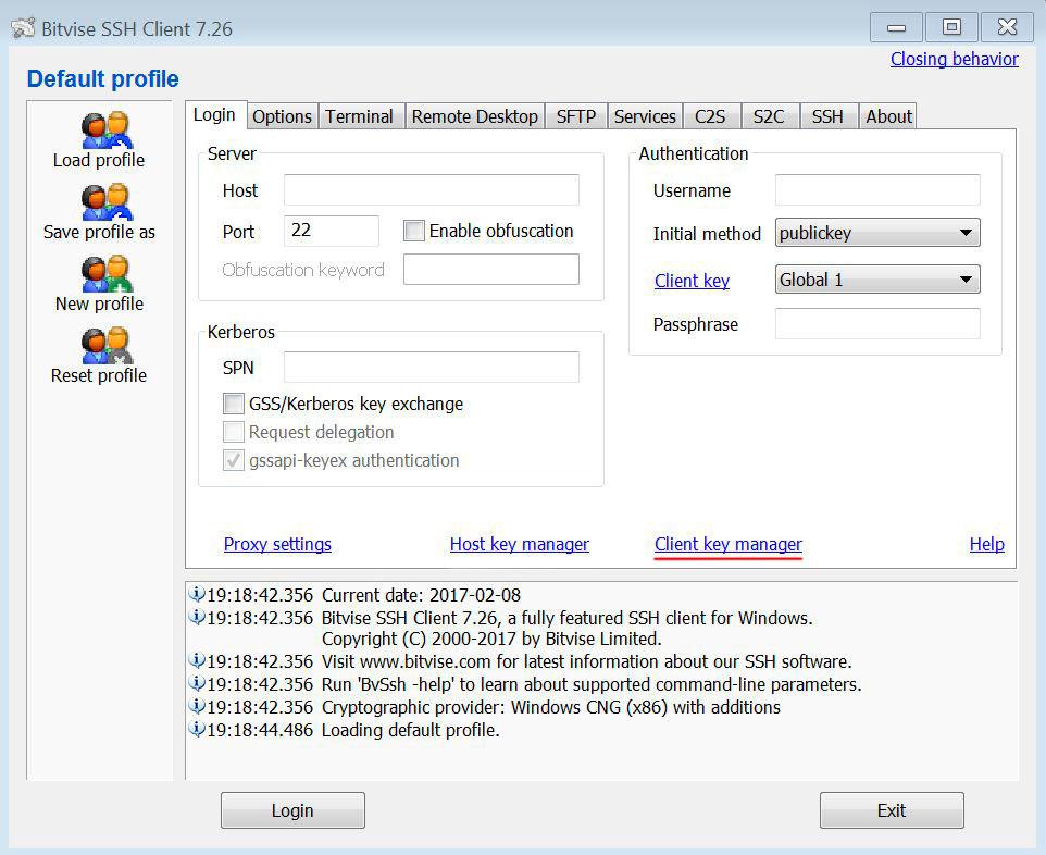 Настройка конфигурации в Bitvise SSH Client