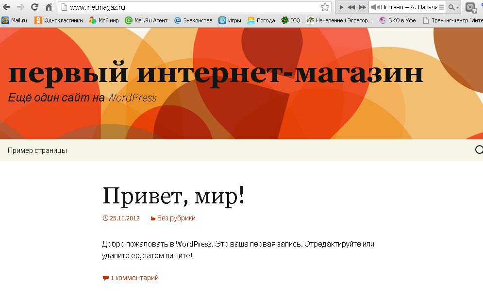 Установленный сайт с wordpress