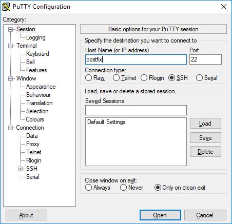 Настройка конфигурации в Putty
