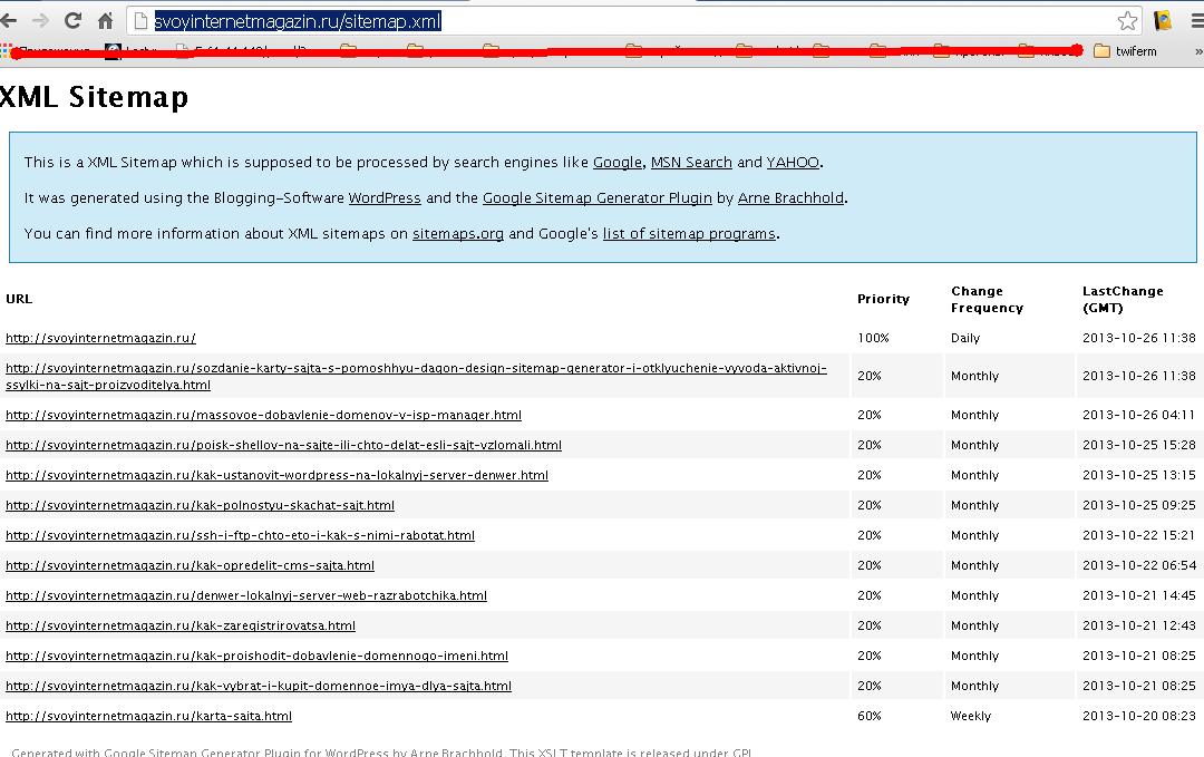 sitemap.xml, созданный для поисковиков